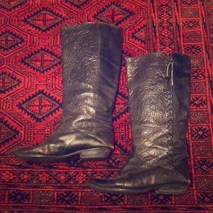 Shoes - Vintage black leather riding boots bought in Paris
